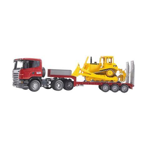 Mainan Anak Scania R Series Low Loader Truck With Cat Bulldozer jual bruder toys 3555 scania r series low loader truck cat