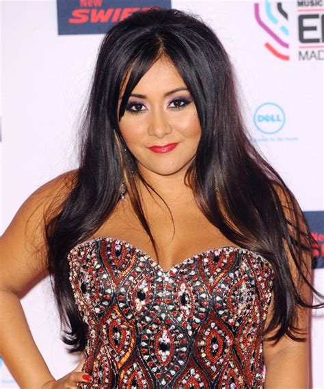 snooki cuts hair short snooki long straight casual hairstyle with side swept