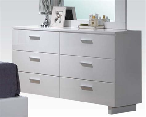 glossy white dresser high gloss white dresser by acme furniture ac22635