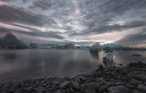 nature photography landscape sunset ice clouds sky sea cold winter dark iceland