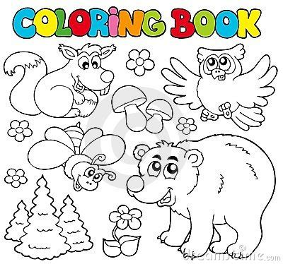 woodland animals an colouring book for dreaming and relaxing books coloring book with forest animals 1 stock photo image