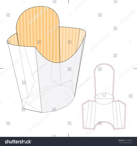 fries packaging template fries disposable paper box die stock vector