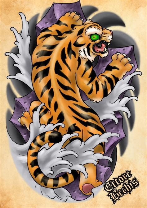 color tiger tattoo designs the gallery for gt traditional japanese tiger flash