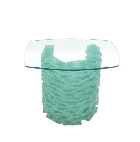 stacked glass table l stacked glass quot block quot base side table for sale at 1stdibs