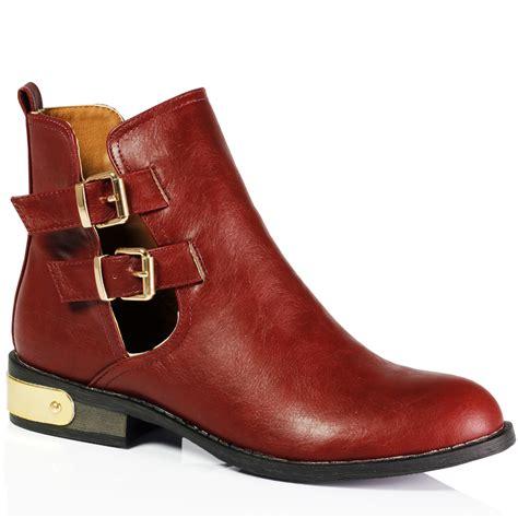 low cut boots womens womens cut out low heel metal buckle ankle loop
