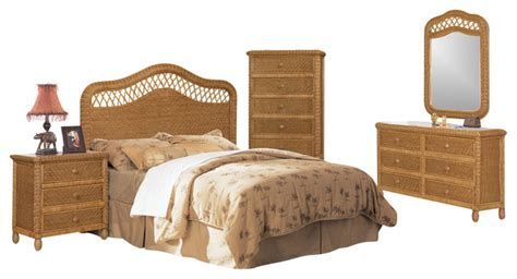 tropical bedroom furniture sets santa cruz wicker rattan 5 piece tropical bedroom