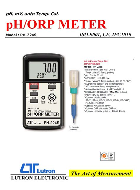 Ph 099 Combination Ph And Orp Meter ph orp metermodel ph 224s advancom electronics