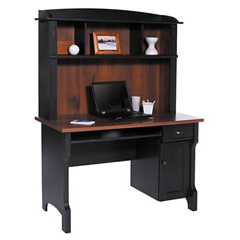 Computer Desks At Office Depot Realspace Shore Mini Solutions Computer Desk With Hutch Antique Black By Office Depot Officemax