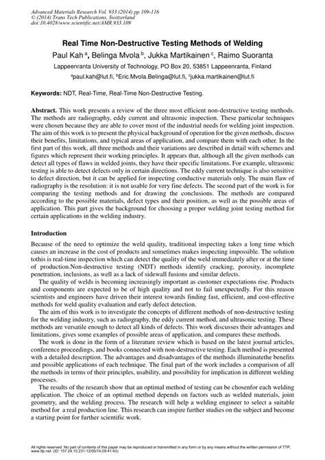(PDF) Real Time Non-Destructive Testing Methods of Welding