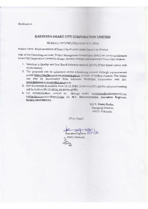 Smart City Kakinada Essay Writing by Request For For Project Management Consultant Pmc For Assisting Kakinada Smart City