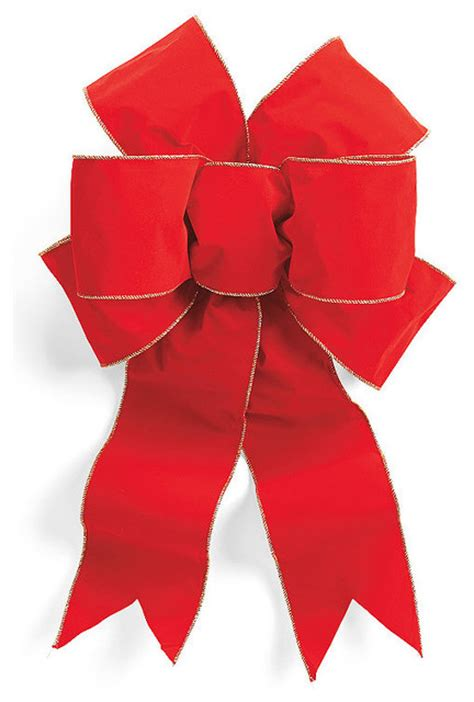 set of two pre made red outdoor christmas bows