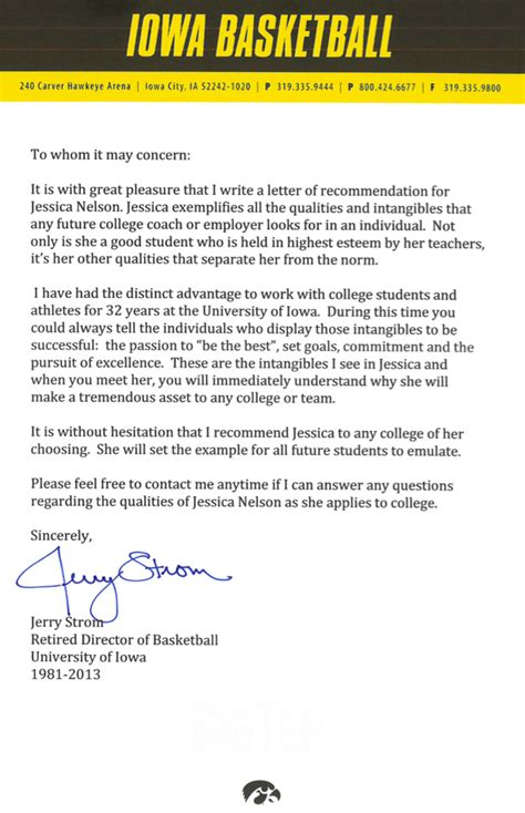 Recommendation Letter For College Athlete college letter of recommendation
