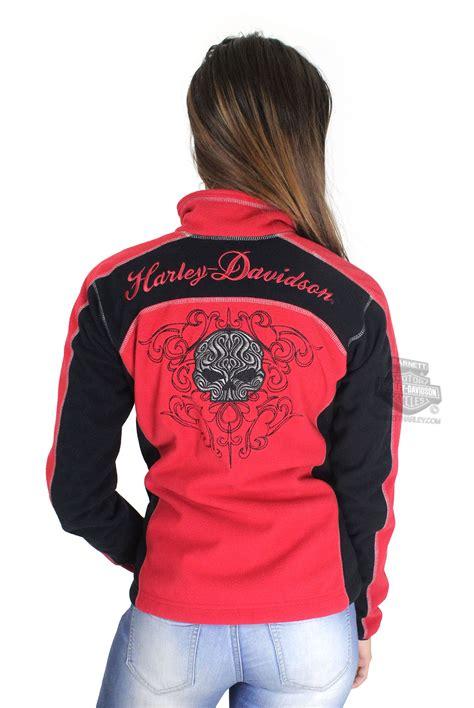 harley davidson womens scroll willie  skull windproof fleece red casual jacket