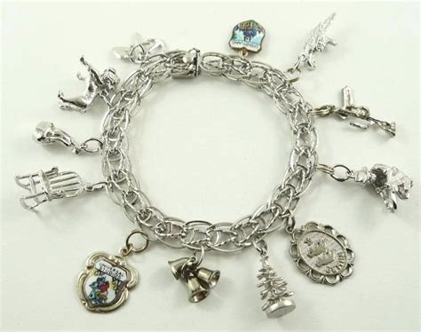 vintage sterling silver charm bracelet with 12 charms ebay