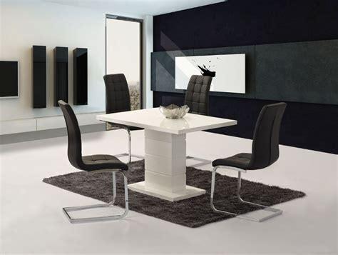 Compact Dining Chairs Livio White High Gloss Contemporary Designer 120 Cm