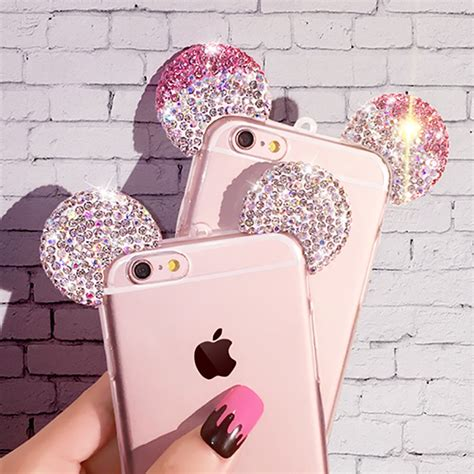 Mickey Bling Back Cover For Iphone 6 Plus 6s Plus aliexpress buy for iphone 7 6 lovely 3d mickey mouse ear cover for iphone 7 6s