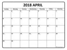 Calendar Of April 2018 April 2018 Calendar April 2018 Calendar Printable