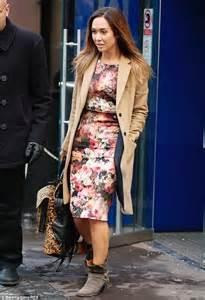 myleene klass she steps out in floral dress and camel coat