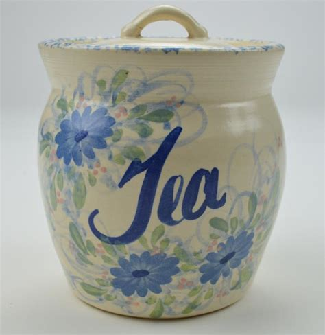 blue pattern pottery east texas pottery blue floral pattern tea canister