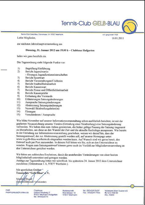 Muster Einladung Jahreshauptversammlung Verein Verein Satzungs 228 Nderung Einladung Animefc Info