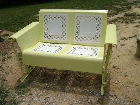 vintage patio glider powdercoated restored vintage metal patio gliders