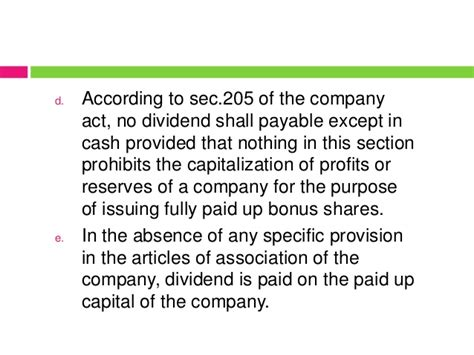 section 205 of the companies act dividend policy