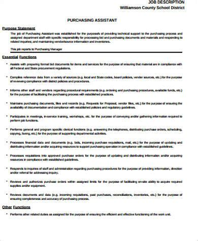 purchasing assistant description purchasing description sle 10 exles in word pdf