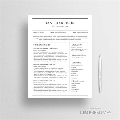 Resume Template Buy by Resume Templates Creative Market Creative Resume Template