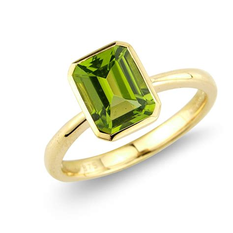 Peridot Rings by 9ct Yellow Gold Octagonal Peridot Ring Coronet Collection