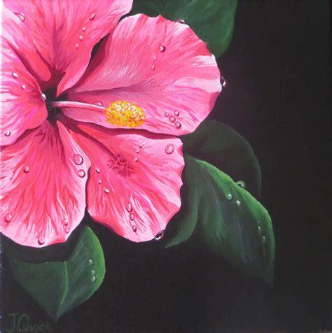 acrylic paint flowers hibiscus painting original pink flower