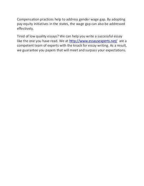 Gender Pay Gap Essay by Sle Essay On Gender Wage Gap