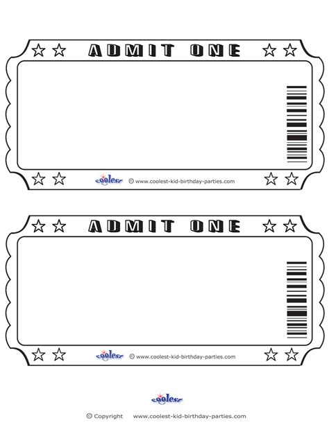 printable sheet of tickets blank printable admit one invitations coolest free