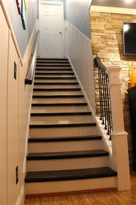 refinished staircase reveal paint speckled pawprints beautiful rich color using rust oleum