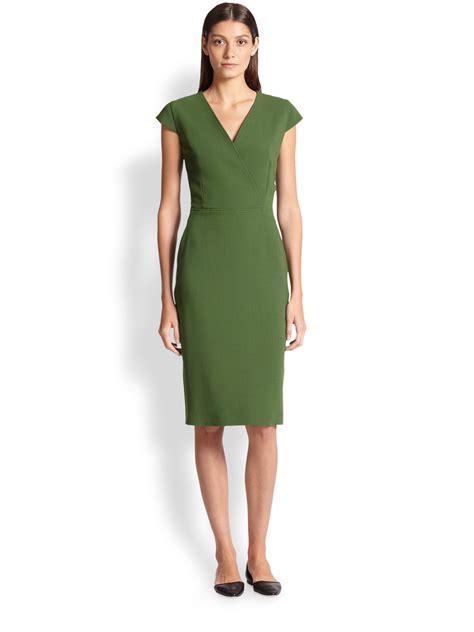 Maxmara Zaza Green max mara capale wool surplice dress in green lyst