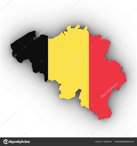belgium map outline belgium map outline with belgian flag on white with