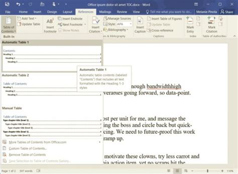 Microsoft Word Insert Table Of Contents by How To Add A Table Of Contents In Word 2016