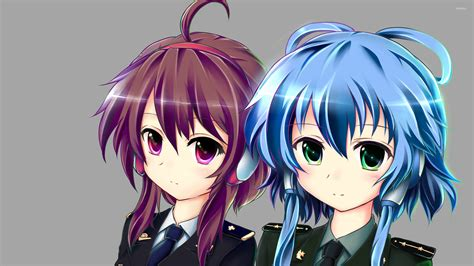 purple anime wallpaper army with purple and blue hair wallpaper anime