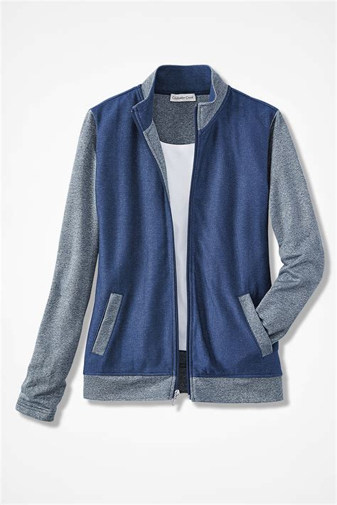 Jaket Zipper Twotone two tone terry zip front jacket coldwater creek