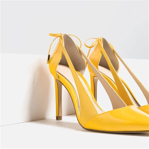 high heel shoes with bows zara high heel shoes with bow in yellow lyst