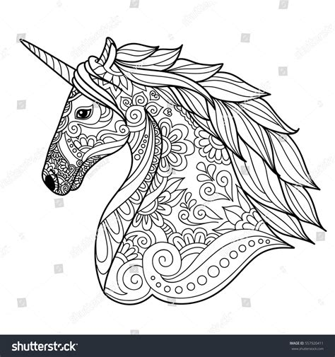 maggie the magic unicorn coloring book books drawing unicorn zentangle style coloring book stock vector