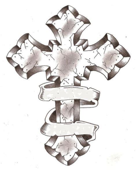 cross tattoos with ribbon around it ribbon around cross design