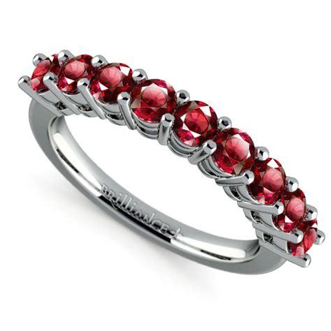 nine ruby gemstone ring in platinum