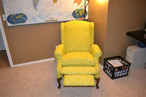 what catie did reupholstered wingback recliner