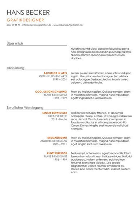 Gestaltung Lebenslauf by Lebenslauf Gestalten Lebenslauf Beispiel