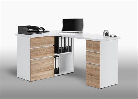 bureau portable computer eckschreibtisch in icy wei 223 mit fronten in sonoma