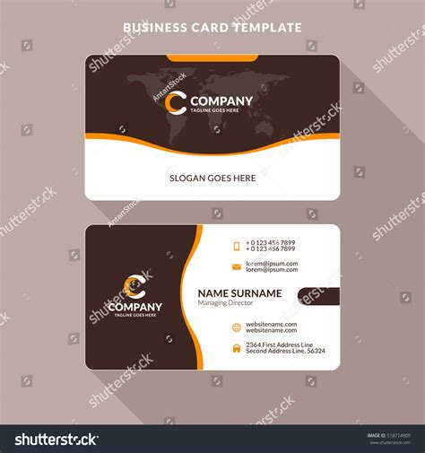 Brown Card Template by Creative Clean Doublesided Business Card Template Stock