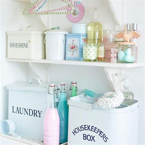 kitchen storage tins country style aqua green retro cool shabby chic utility room shelving decorating