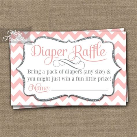 Pch Raffle - printable diaper raffle baby shower pink silver chevron