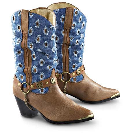 s dingo 174 concho boots brown denim 149284