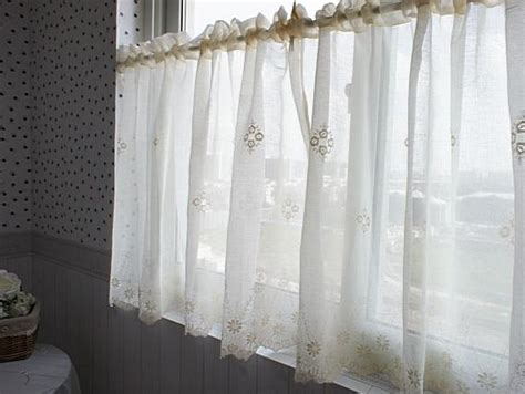 French Country Cream Embroidered Lace Cotton Linen Cafe Linen Kitchen Curtains